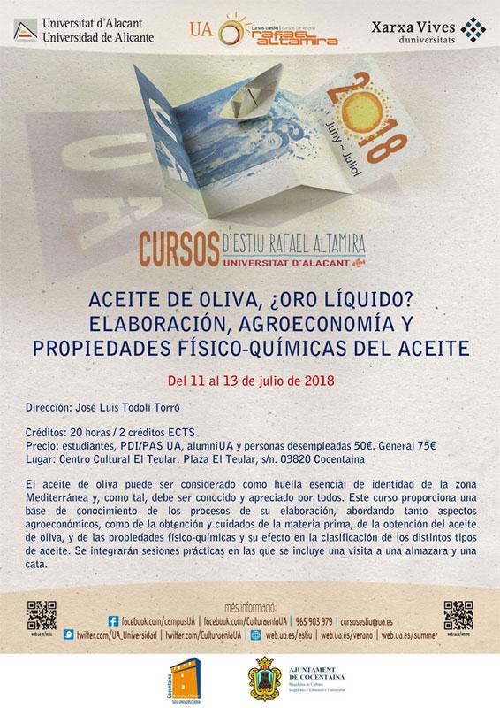 Cartel del curso sobre aceite de oliva en la Universidad de Alicante